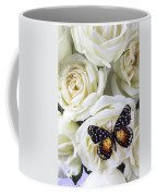 Speckled Butterfly On White Rose Coffee Mug by Garry Gay