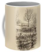 Split Rail Winter Sepia Coffee Mug