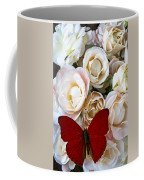 Spray Roses And Red Butterfly Coffee Mug