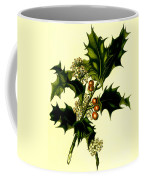 Sprig Of Holly With Berries And Flowers Vintage Poster Coffee Mug