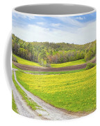 Spring Farm Landscape With Dirt Road And Dandelions Maine Coffee Mug