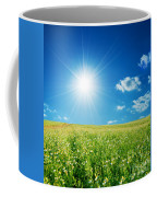 Spring Field With Flowers And Blue Sky Coffee Mug