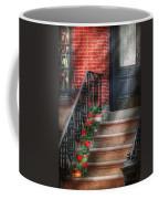 Spring - Porch - Hoboken Nj - Geraniums On Stairs Coffee Mug