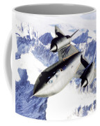Sr-71 Over Snow Capped Mountains Coffee Mug