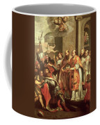 St. Bernard Of Clairvaux 1090-1153 And William X 1099-1137 Duke Of Aquitaine Oil On Canvas Coffee Mug