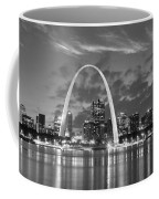 St. Louis Skyline At Dusk Gateway Arch Black And White Bw Panorama Missouri Coffee Mug