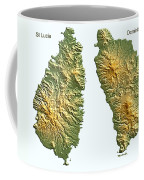 St Lucia And Dominica Map Coffee Mug