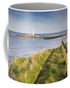 St Marys Lighthouse From Cliff Top Coffee Mug