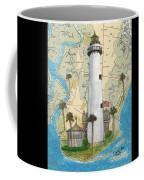 St Simons Lighthouse Ga Nautical Chart Map Art Cathy Peek Coffee Mug