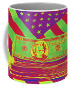 Stack Of Money On American Flag Pop Art Coffee Mug