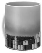 Stacked Round Hay Bales Bw Panorama Coffee Mug