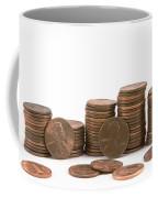 Stacks Of American Pennies White Background Coffee Mug
