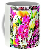 Stain Glass Framed Florals Coffee Mug