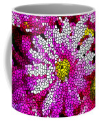 Stained Glass Pink Chrysanthemum Flower Coffee Mug