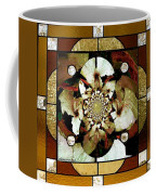 Stained Glass Template Sepia Flora Kalidescope Coffee Mug