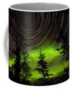 Star Trails And Northern Lights In Sky Over Taiga Coffee Mug