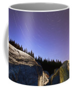 Star Trails Over Rocks In Saguenay-st Coffee Mug