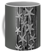 Starfish On Old Wood Black And White Coffee Mug