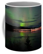 Stars And Northern Lights Over Dark Road At Lake Coffee Mug