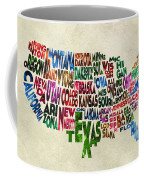 States Of United States Typographic Map - Parchment Style Coffee Mug