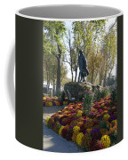 Statue And Flower Bed Across The Street From The Grand Palais Off Of Champs Elysees Coffee Mug