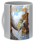 Statue Of Liberty Lounges Between The Brooklyn Coffee Mug