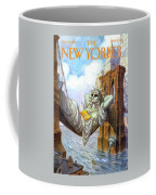 Statue Of Liberty Lounges Between The Brooklyn Coffee Mug