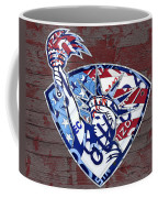 Statue Of Liberty On Stars And Stripes Flag Wood Background Recycled Vintage License Plate Art Coffee Mug