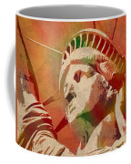 Statue Of Liberty Watercolor Portrait No 1 Coffee Mug