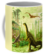 Stegosaurus And Compsognathus Dinosaurs Coffee Mug
