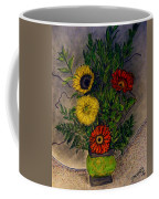 Still Life Ceramic Vase With Two Gerbera Daisy And Two Sunflowers Coffee Mug