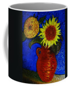 Still Life Clay Vase With Two Sunflowers Coffee Mug