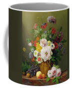 Still Life With Flowers And Fruit Coffee Mug by Anthony Obermann