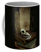 Still Life With Old Books Rusty Key Bird Skull And Feathers Coffee Mug