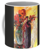 Still Live With Flowers Vase And Black Bottle Coffee Mug