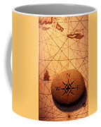 Stone Compass On Old Map Coffee Mug by Garry Gay