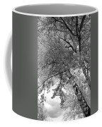 Storm Over The Cottonwood Trees - Black And White Coffee Mug