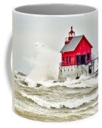 Stormy At Grand Haven Light Coffee Mug