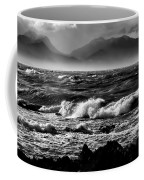 Stormy Coast New Zealand In Black And White Coffee Mug
