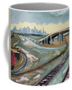 Stormy Train Tracks And San Francisco  Coffee Mug