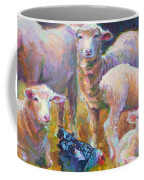 Stranger At The Well - Spring Lambs Sheep And Hen Coffee Mug