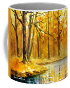 Stream In The Forest - Palette Knife Oil Painting On Canvas By Leonid Afremov Coffee Mug