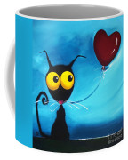 Stressie Cat And Her Love Balloon Coffee Mug
