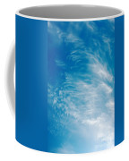 Strong Winds Forming Cirrus Clouds With A Deep Blue Sky. Coffee Mug