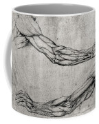 Study Of Arms Coffee Mug by Leonardo Da Vinci