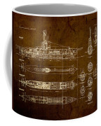 Submarine Blueprint Vintage On Distressed Worn Parchment Coffee Mug