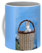 sugar the easter bunny 4 - A curious and cute white rabbit in a hand basket  Coffee Mug