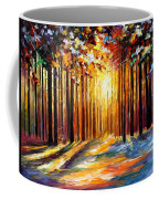 Sun Of January - Palette Knife Landscape Forest Oil Painting On Canvas By Leonid Afremov Coffee Mug