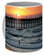 Sun Over Pier And Bird In Surf Coffee Mug
