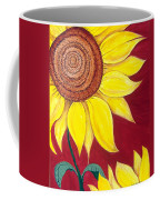 Sunflower On Red Coffee Mug